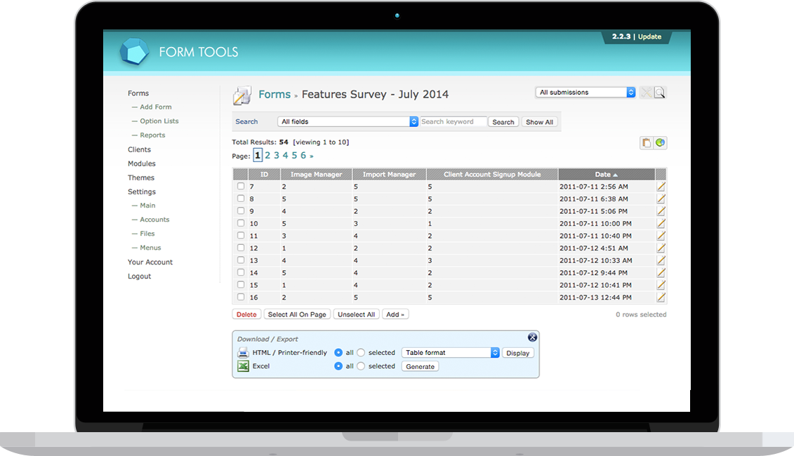 Form Tools interface